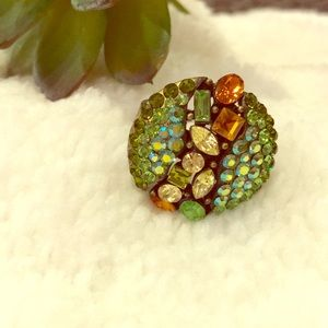 Pretty sparkly green ring, adjustable, NEW